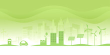 Ecology Concept.Alternative Renewable Energy.Electric Car And Green Eco City Background.Environment Conservation Resource Sustainable.