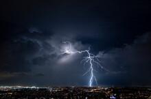 Massive Lightning Strike Over The Brisbane City Suburbs Lights