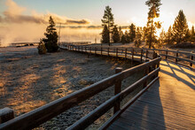 Dramatic Frosty And Foggy Autumn Morning Covering The Yellowstone Lake , Hot Sprinngs And Cones In The West Thumb Geyser Basin In Yellowstone National Park In Wyoming.
