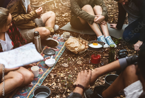 Tela Friends camping in the forest together