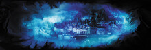 Fantasy Vision City Banner/Illustration Horizontal Banner With A Dream Of A Fantasy Town