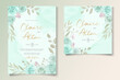 Elegant wedding invitation template with turquoise color floral ornament