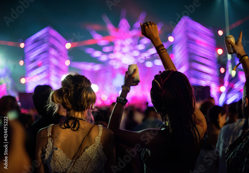 Fotografie, Obraz Diverse group of people enjoying a road trip and festival