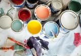 Fototapeta Kawa jest smaczna - Closeup of house painting renovation