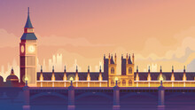 London Flat Cartoon Style Web Background
