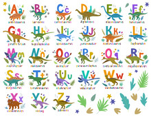 Dino Alphabet. Bright Colorful Set With Hand Drawn Cartoon Cute Dinosaurs And Letters Compositions For Children And As Education Resources