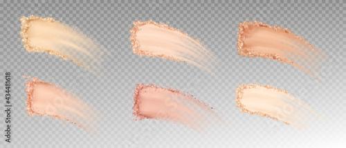 Fotografiet Dry powder, skin foundation smears, blush brush strokes broken crumbly texture