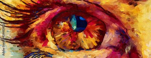 Obraz na płótnie Eye oil painting, textured multicolored brush strokes