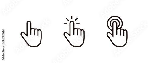 Fotografiet Hand Cursor icon set, Click icon vector