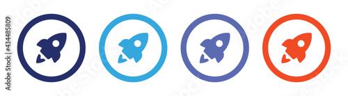 Obraz na plátne Rocket simple icon set vector illustration.