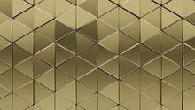 Luxurious Tiles Arranged To Create A Triangular Wall. Gold, 3D Background Formed From Glossy Blocks. 3D Render