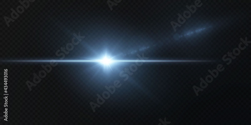 Valokuva Blue horizontal lens flares pack