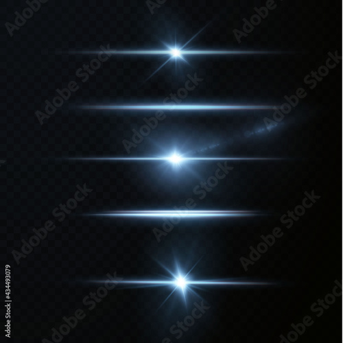 Fotografie, Obraz Blue horizontal lens flares pack