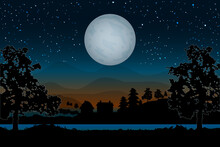 Landscape With Houses, River, Trees And Moonlight On Hills Backdrop.Night Village Scenery With Full Moon And Starry Sky.Countryside Panorama On The Coast On Evening In Summer.Stock Vector Illustration