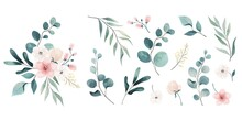 Assortment Watercolor Leaves Flowers
