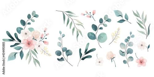 Canvastavla Assortment Watercolor Leaves Flowers