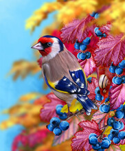 Autumn Bright Background, Goldfinch Bird Sits On A Branch, Red, Yellow Foliage, Blue Berry, Snail, Soft Focus, 3D Rendering