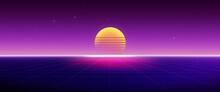 Retro 80's Futuristic Background With Sunset And Grid, Abstract Sci-fi Concept. 3d Rendering.
