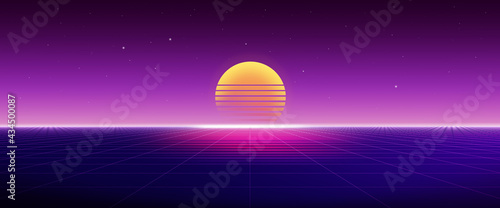 Stampa su Tela Retro 80's futuristic background with sunset and grid, Abstract Sci-fi concept