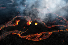 Aerial View Of Fresh Lava Streams From Volcano Eruption In Geldingadalur, Iceland.