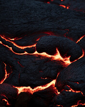Close-up Of Fresh Lava Flowing From Volcano Eruption In Geldingadalur, Iceland.
