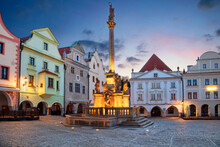 Cesky Krumlov. Cityscape Image Of Main Square Of Cesky Krumlov With Traditional Architecture At Twilight Blue Hour.