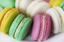 French Colored Dessert Macaron Close-up