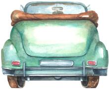 Watercolor Vintage Back Car