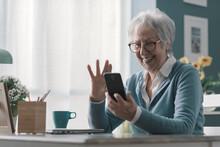 Happy Senior Woman Having A Video Call