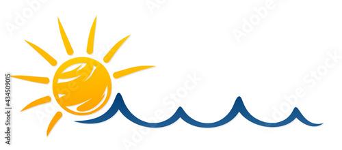 Fotografie, Obraz Sun and Blue Wave Symbol.