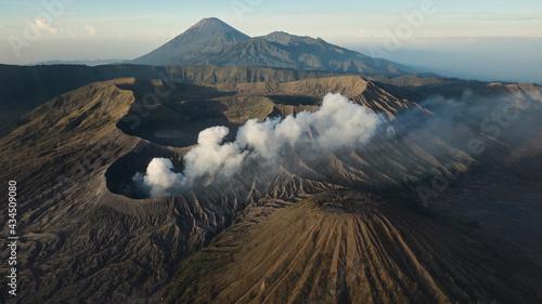 Foto Drone view of Mount Gunung Bromo volcano in East Java, Indonesia