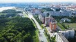 Urban aerial view of beautiful Russian city on blue sky sunny day. Drone footage