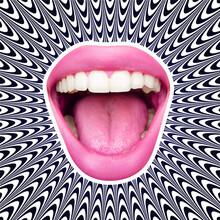 Modern Design, Contemporary Art Collage. Inspiration, Idea, Trendy Urban Magazine Style. Female Mouth Shouting On Illusion Background.