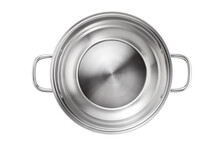 Stainless Steel Pot Isolated On White Background. Top View.
