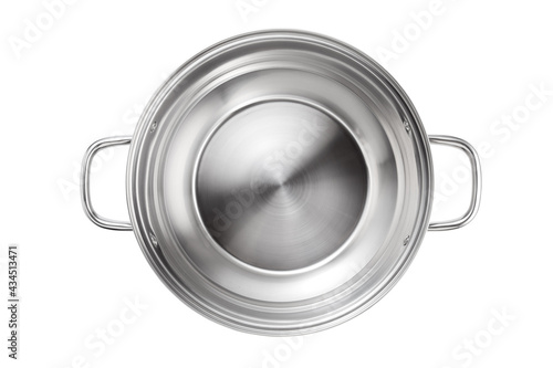 Stainless steel pot isolated on white background. Top view. Fototapeta