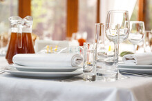 Table Setting. Restaurant Served Table For Party In Light Neutral Colors