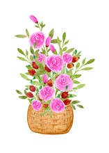 Composition With Watercolor Roses And Berries In A Wicker Basket. Bouquet With Pink Roses And Red Berries. Flower Arrangement Isolated On White Background. Clipart .