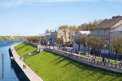 Fotografija TVER, Russia, May 2021: View of the Stepan Razin Embankment on the Volga river in Tver