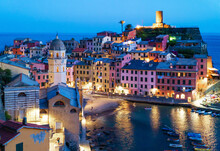 Vernazza (Italy) - A View Of Vernazza, One Of Five Lands Villages In The Coastline Of Liguria Region, Part Of The Cinque Terre National Park