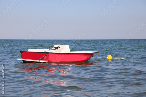 Fotografie, Obraz motorboat in the middle of the sea to rescue swimmers