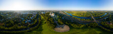 Russia, Vladimir. Dormition Cathedral In Vladimir (Assumption Cathedral) Cathedral Of The Vladimir Metropolitanate Of The Russian Orthodox Church. Aerial View. Panorama 360