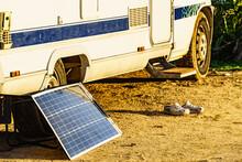 Solar Photovoltaic Panel At Camper Caravan