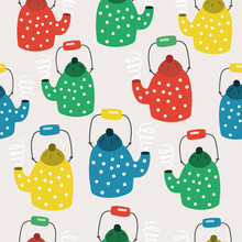 Cute Seamless Pattern With Retro Teapots On A Soft Pink Background
