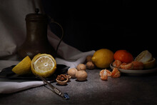 Still Life With Fruit, Walnuts And Antique Jug In Retro Style