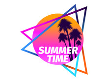 80s Retro Sci-fi Palm Trees On A Sunset Isolated On White Background. Retro Futuristic Sun With Palm Trees. Summer Time. Synthwave And Retrowave Style Logo. Vector Illustration
