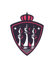 King And Bishop Chess Pieces In Shield