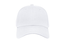 Baseball Cap Color White Close-up Of Front View On White Background