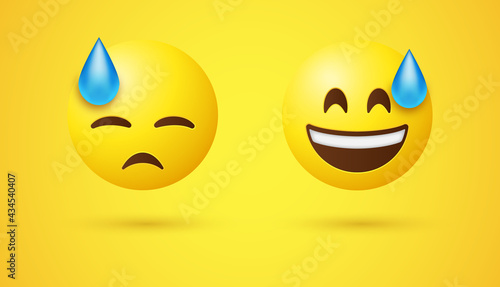 Smiling Emoji Face with Sweat and Downcast Emoticon Face with Sweat - Happy Grinning emotion and Sad Disappointed reaction - Exercise, Hard Work emojis, emoticons