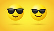 Smiling Face with Sunglasses - Sunglasses emoji - Cool emoticon - 3d yellow face with a broad - popular emojis - social media emoticons reactions