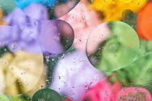 Oil And Water Drops. Abstract Colorful Modern Background With Glass